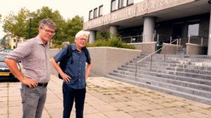 Jan Lucassen en Leo Lucassen @ IISG voor opnames promo 'Vijf Eeuwen Migratie'